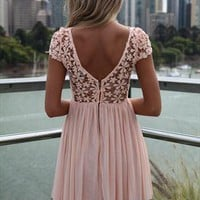 Peach Splended Angel Lace Tulle  Dresss  from xeniaeboutique