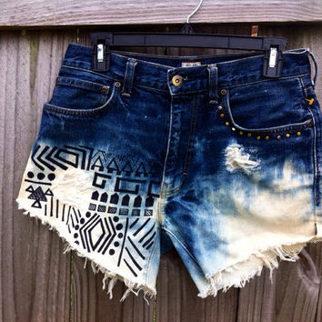 Aztec high waisted bleached studded denim by KayleesKrafts15