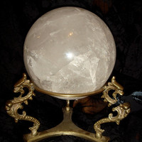 Impressive ROCK CRYSTAL BALL on Dragon Stand by GothicRoseAntiques