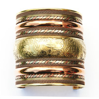 3-inch Handcrafted Brass & Copper Women Mens Adjustable Elephant Cuff Bracelet