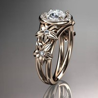 14kt rose gold diamond floral wedding ring,engagement ring ADLR131......