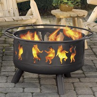 Steel Dancing Bears Outdoor Fire Pit with Cooking Grill - Plow & Hearth