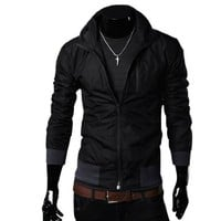 Allegra K Men Convertible Collar Ribbed Hem Full Zip Up Windbreaker Black M:Amazon:Clothing