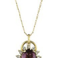 Anton Heunis Anthony and Cleopatra Turquoise Drop and Purple Crystal Pendant Necklace
