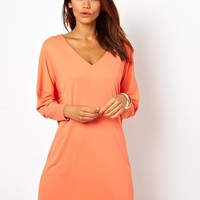 Dress With V-Neck In Crepe
