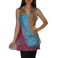 Womens Thai Exotic Sexy Fitted Sleeveless Tank Top / Blouse - Multicolor - Large