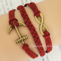 Graduation Gift, Fashion Charm Bracelet, Bronze anchor Infinite Charm, Red Cords, Braid Leather, Bronze Jewelry, Personalized