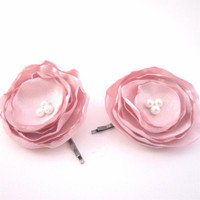Bridal Silk Satin Blush Pink Flower Bobby Hair Pins Wedding | ChichiChick - Accessories on ArtFire