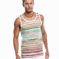 INC International Concepts T Shirts, Rain Forest Stripe Tank - Mens T-Shirts - Macy's