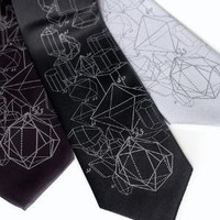 Crystal Math - crystalline structure silkscreened necktie - CYBEROPTIX TIE LAB