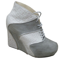 WEDGES Handmade grey white & silver leather oxford by NorTin