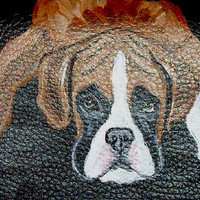 Boxer Dog Painted Leather Cell Phone Case by daniellesoriginals