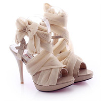 High Heel Chiffon Lace Up Sandals for Women ZXCZ061626