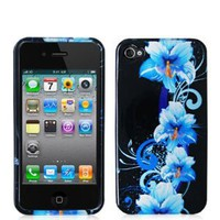 Crystal Hard Faceplate Cover Case With Blue and Black Flower Design for Apple Iphone 4G