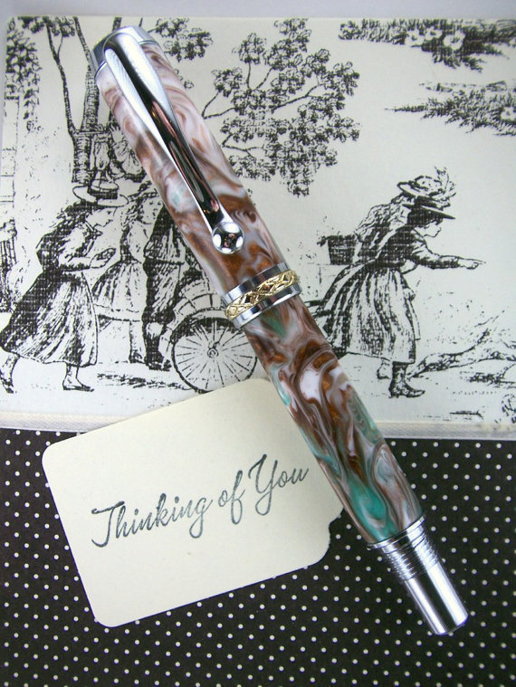 Handcrafted Rollerball Ink Pen Hand Turned by MikesPenTurningZ