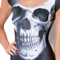 Skull Black Cap Sleeve Swimsuit (Made to Order) | Black Milk Clothing
