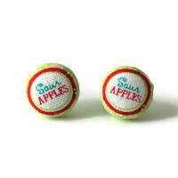 Sour Apples Fabric Cover Button Candy Earrings