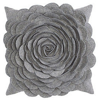 Z Gallerie - Rose Pillow 16&quot; - Grey