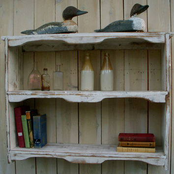 Hanging Wood Shelf Shabby Furniture Chic by honeystreasures