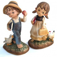 Napco Country Girl &amp; Boy Figurine Set - Vintage 60s | RitasAttic - Collectibles on ArtFire
