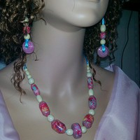 LaMataDesigns | Pink Hand Painted Paper Bead Necklace Set | Online Store Powered by Storenvy