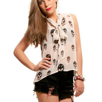 GYPSY WARRIOR - Front Tie Skull Blouse - Ivory