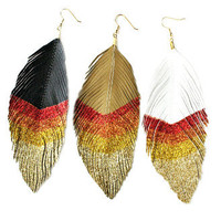 Hunger Games Inspired Girl On Fire Big Feather Earrings