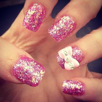 Girly Cute Glitter Nails(; - inspiring picture on Favim.com