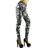 Amour-Gothic Punk Sexy Black Skull Print Leggings Tights Pants:Amazon:Clothing