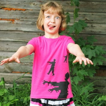 Girls Pink Zombie T-shirt, size 4, cute zombies clothing kids, cotton tee
