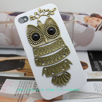 Brass Owl Branch White Hard Case Cover For iPhone 4 4g 4s