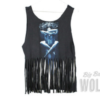 Metal Band TOOL Shirt cut into a crop tank by shopbigbadwolf