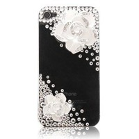 Iphone4s Joke Set Auger Camellia Crystal Drill Cases
