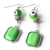 Green Neon Retro Earrings