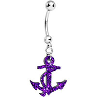 Purple Hazed Glitter Nautical Anchor Belly Ring | Body Candy Body Jewelry