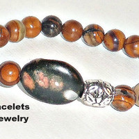 "Mens Bracelet  Genuine Banded Jade Beads And  Naodelite Focal Bead  ""Milagro"""