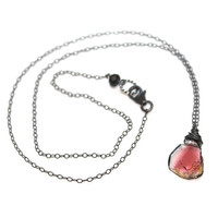Delicate Watermelon Tourmaline Slice Necklace Wire Wrapped Oxidized Silver Everyday Necklace Gemstone Jewelry