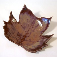 CERAMIC Tulip Poplar LEAF BOWL -- Mottled Burgundy | HarmonArt - Ceramics & Pottery on ArtFire