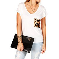 White/Leopard Pocket Tee