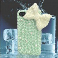 Mint Green Pearl Cute Lace  BOWKNOT  Case Cover for iPhone 4 4G 4S WCD02