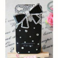 Luxury Diamond Crystal Bowknot Hard Case Cover  For iPhone 4 4G 4S Black WCD02