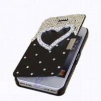 Deluxe Flip Style Leather Magnetic Hard Case Cover For iPhone 4G 4S Heart Black