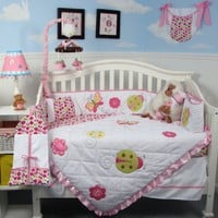 SoHo Little Lady Baby Crib Nursery Bedding Set 13 pcs included Diaper Bag with Changing Pad & Bottle Case