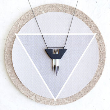 Triangle Ebony Wood and Porcupine Quill Necklace