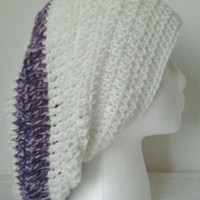 Crocheted Antique White &amp; Purple Striped Slouchy Hat