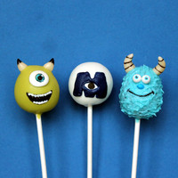 12 Cake Pops inspired by Disney's Monsters by SweetWhimsyShop