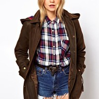 ASOS Waxed Hooded Jacket With Check Lined Hood at asos.com