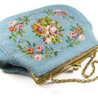Vintage Needle Point Purse with Pink Roses / Turquoise Rose Purse, Wedding or Evening / Hand Embroidered Purse - Sac de Soirée Rose.