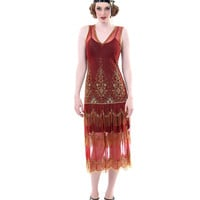 1920's Style Paprika & Gold Seven Voyages Beaded Reproduction Flapper Dress - Unique Vintage - Prom dresses, retro dresses, retro swimsuits.