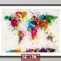 Paint Splashes Map of the World Map, Art Print 12x16 inch (168)